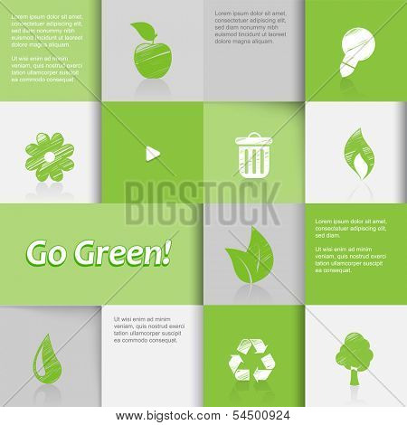 Ecology icons on green tiled background.