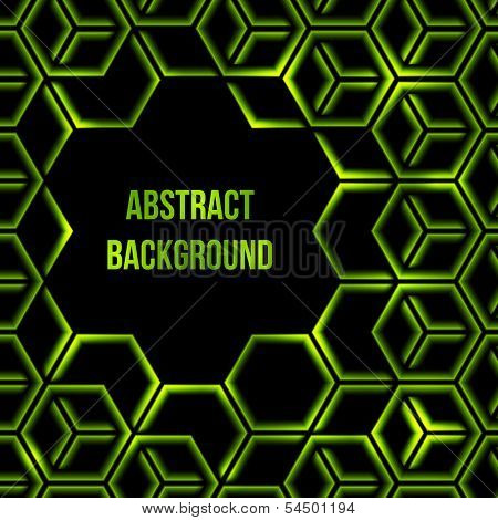 Abstract green shining 3d hexagon background with custom text copyspace