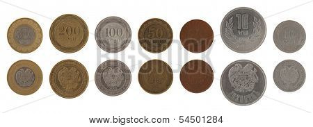 Armenian dram coins isolated on white