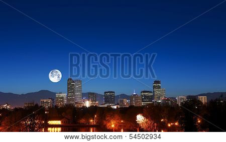 Denver Skyline With Moon