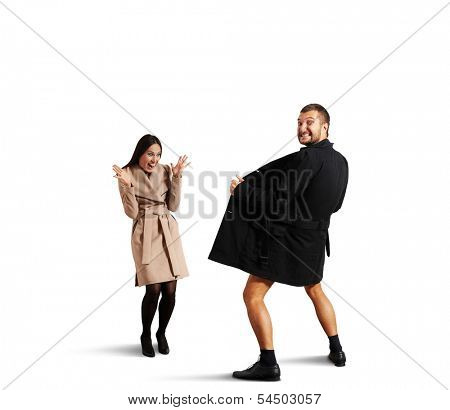 funny picture of laughing woman and crazy exhibitionist. isolated on white background