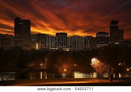 Reddish Sunset In Denver