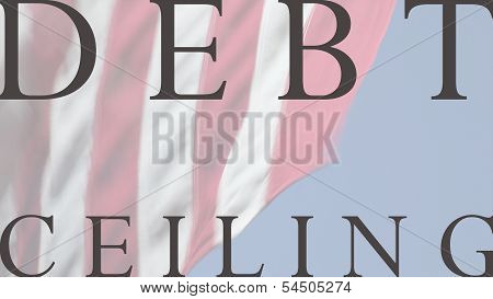 USA flag with debt ceiling words