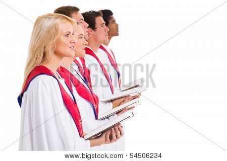 group church choir singing from hymnal