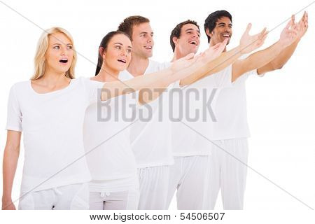 group of young singers performing on white background