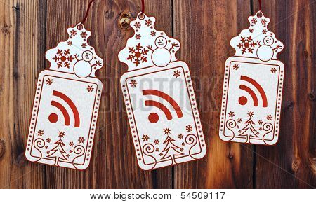 Three Christmas Cards With Wifi Sticker