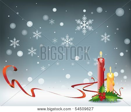 Candles on snow Background