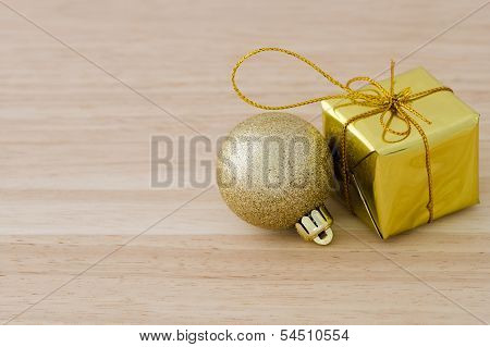 Gold Christmas Bauble And Present Box