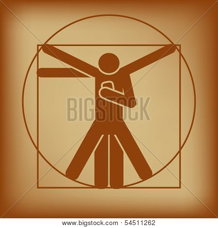 Vitruvian Man Checking Smartphone