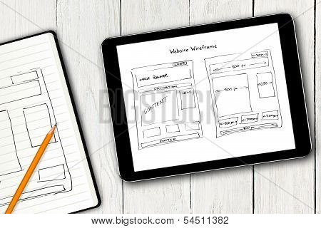 Website Wireframe Sketch On Digital Tablet Screen poster