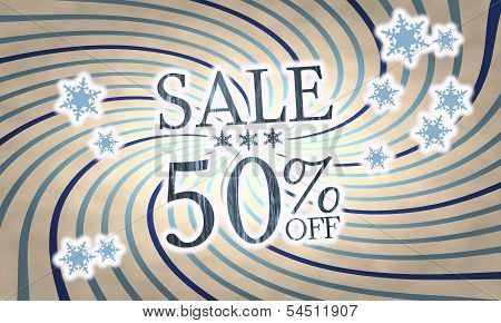 Vintage Wooden Christmas Sale 50 Percent Off Symbol