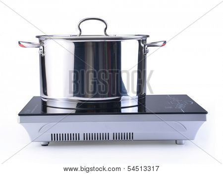 pot at the induction stove over the white background