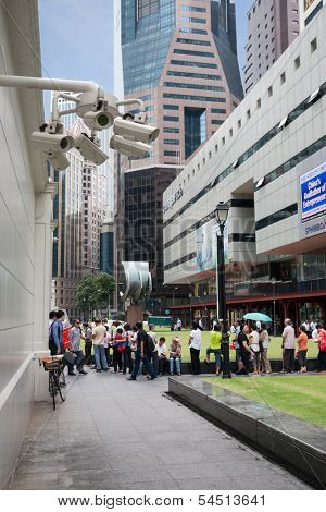 SINGAPORE - NOVEMBER 5:  Security cameras in the city center Raffles Place on November 5, 2012 in Singapore. Security cameras are installed to ensure safety on the streets.