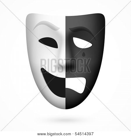 Comedy and tragedy theatrical mask. Vector.