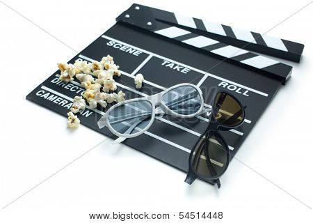 clapperboard with 3d glasses and popcorn on white background