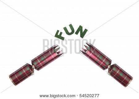 Isolated Christmas Cracker In Tartan Pattern With Fun Text