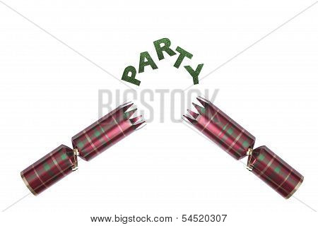 Isolated Christmas Cracker In Tartan Pattern With Party Text