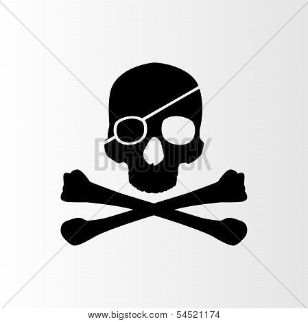 Pirate sign. Skull and bones. Jolly roger