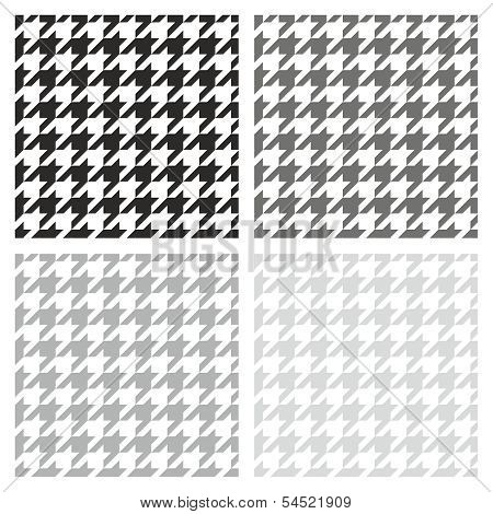 Houndstooth vector seamless pattern black, grey and white background set.