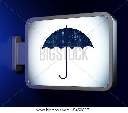 Safety concept: Umbrella on billboard background