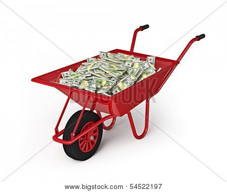 Wealth abundance money finance richness salary wage wealth concept - wheel barrow full of dollars isolated on white background