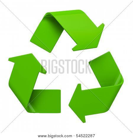 Ecology eco conservation recycling concept - green recycling symbol isolated on white background