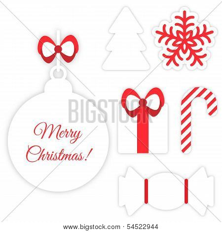 Christmas symbols isolated on white
