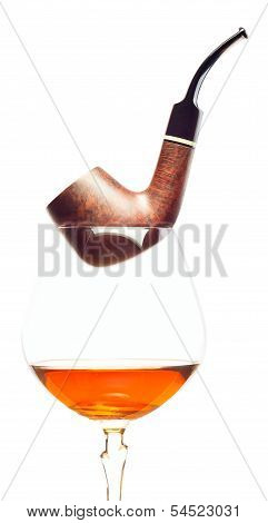 Pipe And  Brandy On  White