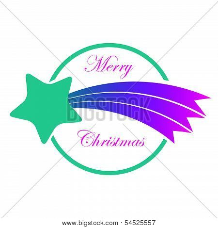 Label With Christmas Comet