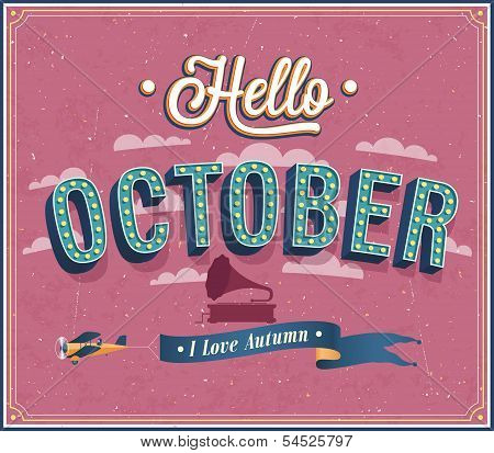 Hello October Typographic Design.