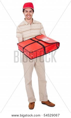 Pizza Delivery Boy With Thermal Bag