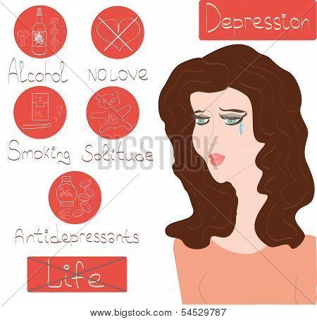 Woman Depression Mental Health Concept