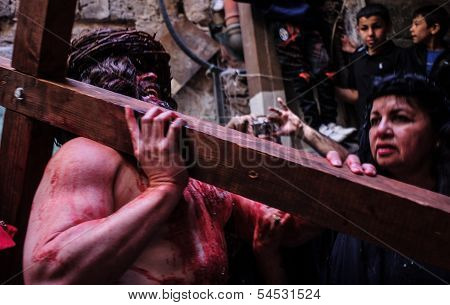 Via Dolorosa On Good Friday
