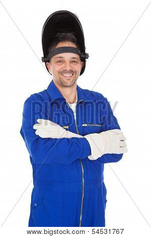 Portrait Of Confident Welder In The Mask