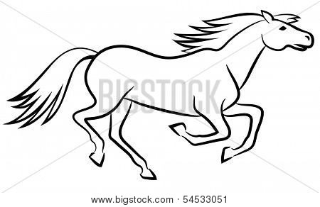 Running horse outline - vector illustration