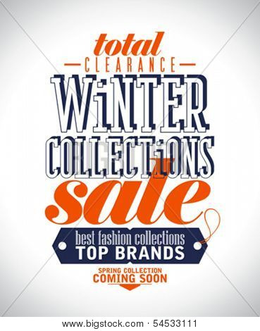 Winter collections sale poster in retro style.