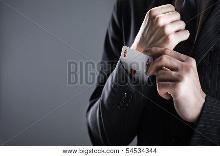 Businessman With Ace Card