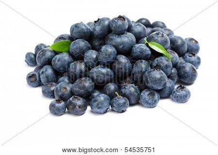 Close up of heap of bilberry, isolated on white background. Concept of healthy eating and dieting lifestyle