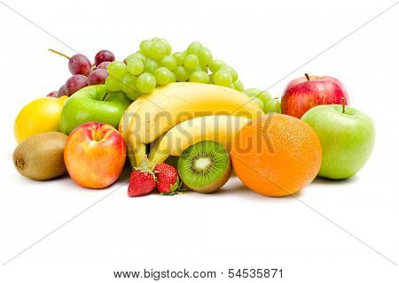 Close up of heap of fruit, isolated on a white. Concept of healthy eating and dieting lifestyle