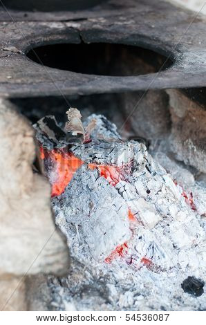 Wood Ash Burning In An Oven