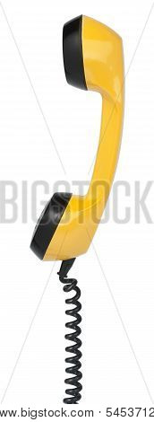 Handset Of Vintage Yellow Telephone. Isolated On White