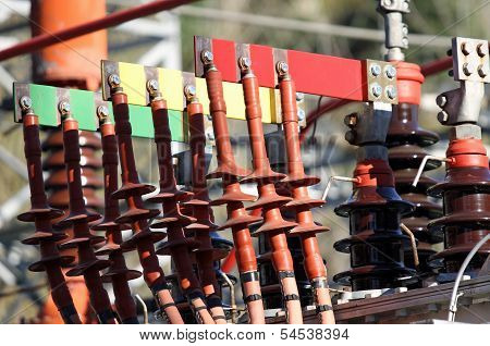 Connectors Copper Busbar And Poles Of A Transformer Of A Powerhouse Of Energy Production