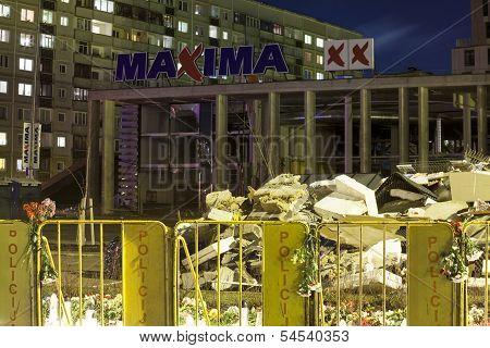 Fallen roof of Maxima supermarket in Riga, Latvia.