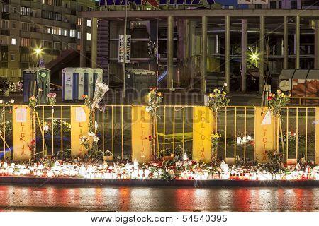 Riga, Latvia - 25 November 2013: Third day of National Mourning
