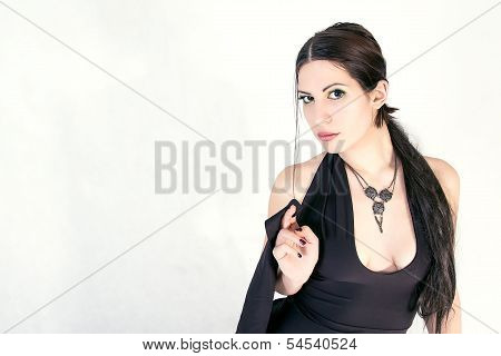 Attractive woman with beautiful necklace