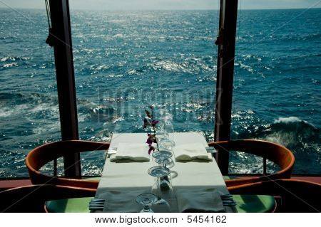 Dinnng Table For Two By The Sea