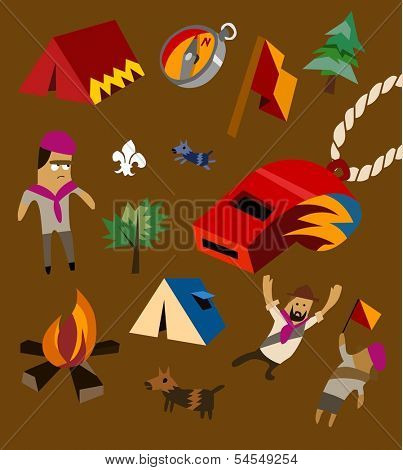 Camping set flat. childish Vector illustration