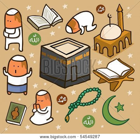 Islamic set flat. hand drawn Vector illustration