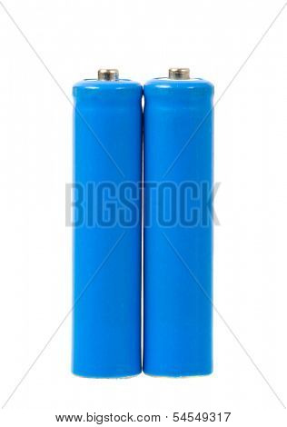 A set a of AAA size batteries on white background