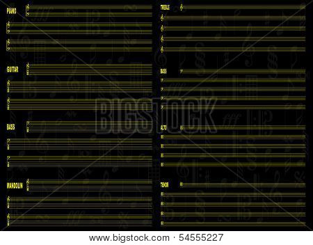 Free Staff Paper Black Background